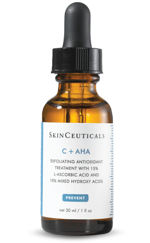 C + AHA is a two-in-one daytime antioxidant serum that works by two different mechanisms to help improve the appearance of skin. Formulated with 15% pure vitamin C (l-ascorbic acid) and a blend of 10% hydroxy acids, neutralizes free radicals and exfoliates skin to promote clear skin and minimize the appearance of blemishes. In addition to providing the benefits of vitamin C, this daytime antioxidant serum reduces the appearance of fine lines and wrinkles as it improves overall skin radiance. Neutralizes damaging free radicals caused by environmental aggressors Exfoliates dry, dull surface cells to help improve the appearance of blemishes and skin texture Paraben, fragrance, alcohol, and dye-free Ideal for normal, combination, and oily skin types