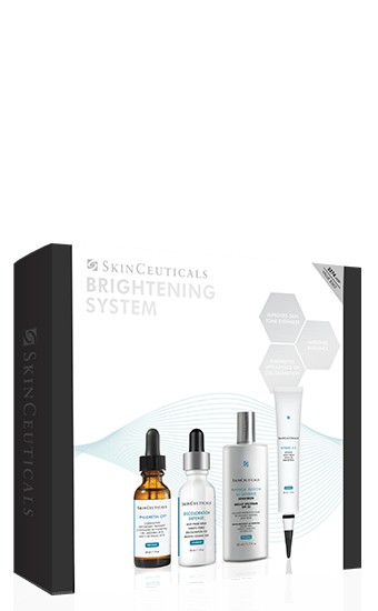 This targeted homecare kit with key brightening products systematically improves the appearance of skin discolorations through multiple modes of action. A comprehensive four-step regimen helps improve skin tone evenness and radiance, and diminishes the appearance of discoloration. Phloretin CF: A light, triple antioxidant serum provides advanced environmental protection and diminishes the appearance of fine lines and skin discoloration. Discoloration Defense: Multi-phase serum formulated to reduce the appearance of multiple types of discoloration, including stubborn brown patches. Retinol 0.5: Pure, highly concentrated retinol in a stabilized delivery system that visibly improves the appearance of skin discolorations, uneven tone, and fine lines and wrinkles. Physical Fusion UV Defense SPF 50: Broad spectrum sunscreen with a universal tint to enhance natural skin tone and help protect against damaging UVA/UVB rays for brighter, more radiant skin.